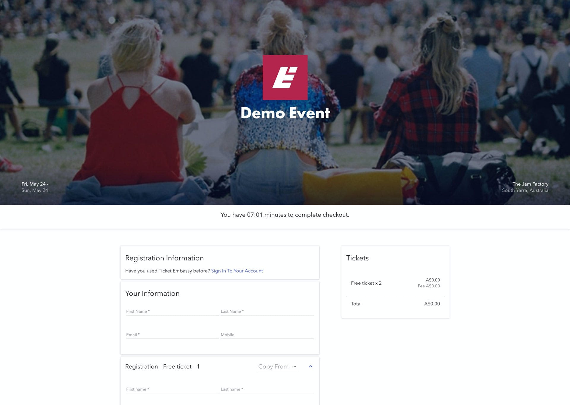 Ticket Embassy Checkout Page